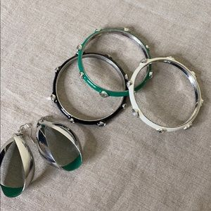 Three Enameled Bangles + Elongated Hoop Earrings